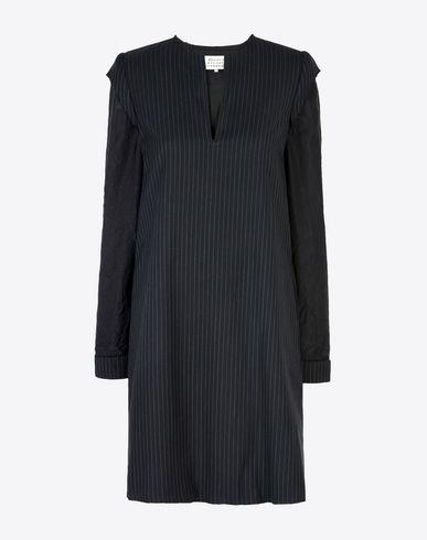 MAISON MARGIELA 1 ミニワンピース・ドレス D ピンストライプ ウール ブレンド ドレス f