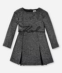 KARL LAGERFELD KARL SIGNATURE WAISTBAND BOUCLÉ DRESS 8_f