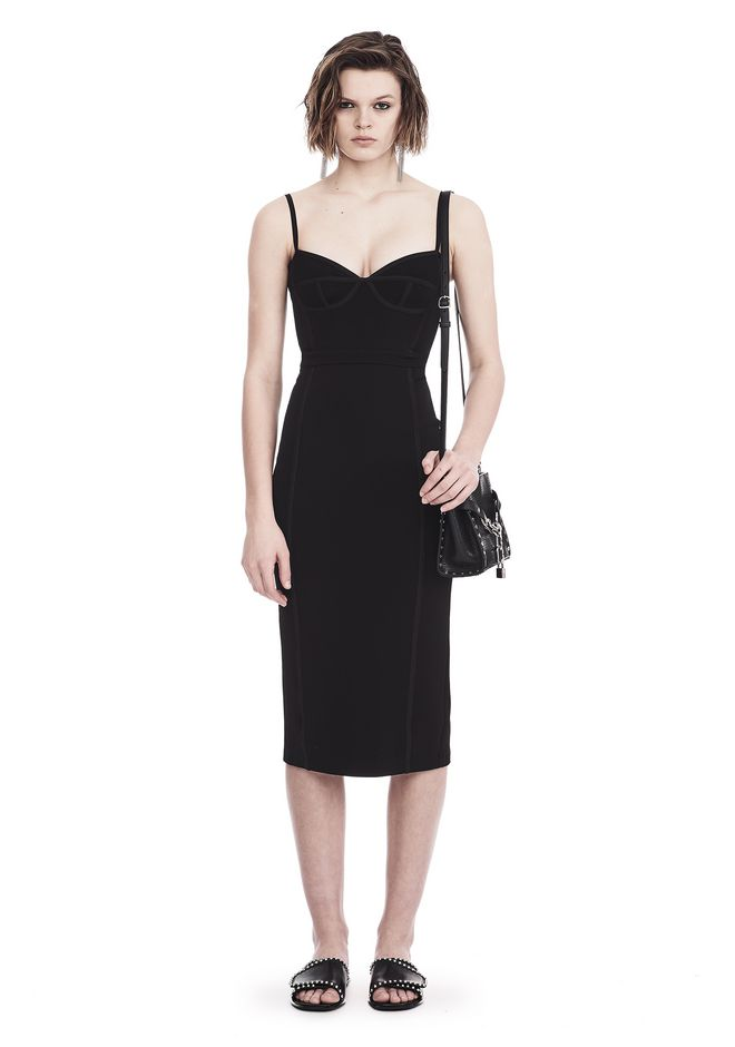 T by ALEXANDER WANG new-arrivals-t-by-alexander-wang-woman SLEEVELESS FITTED MIDI DRESS