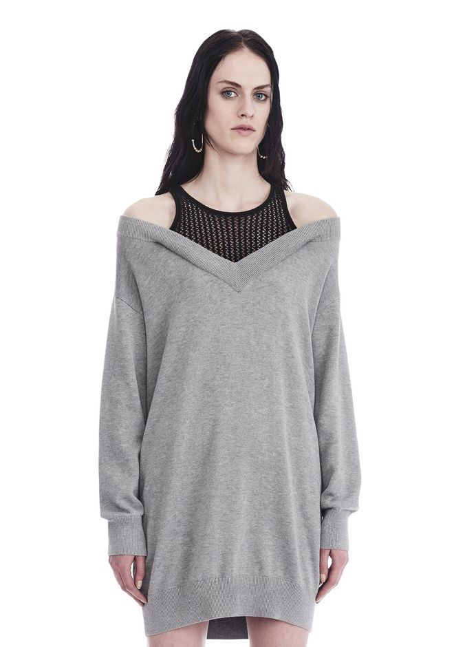 T by ALEXANDER WANG Short Dresses KNIT DRESS WITH INNER MESH TANK