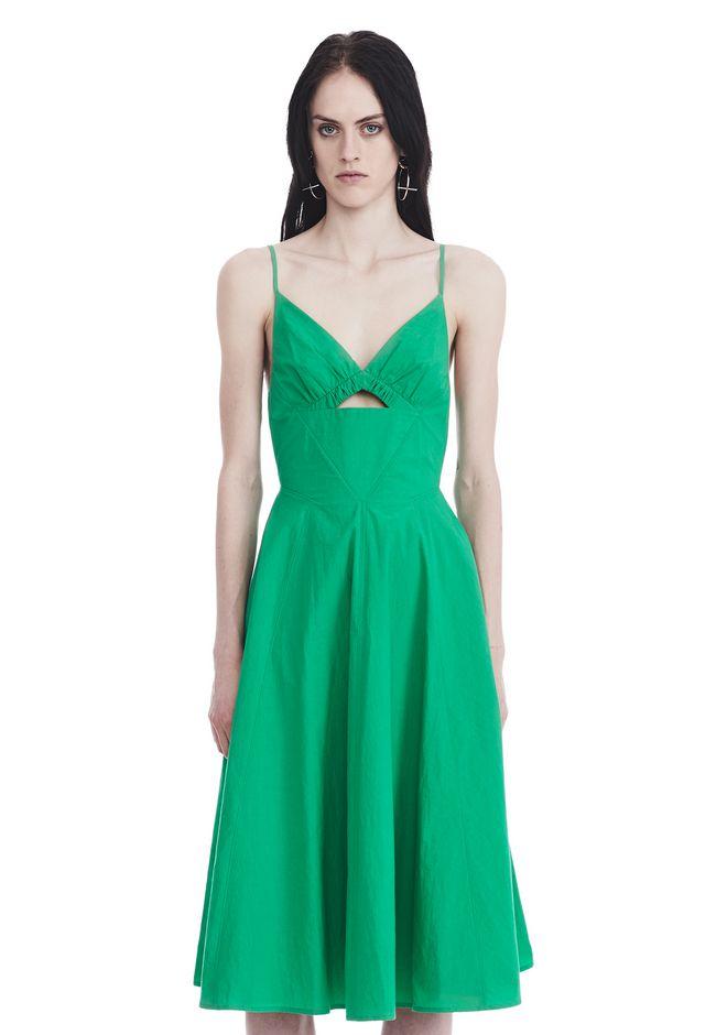 T by ALEXANDER WANG 3/4 Length dresses COTTON POPLIN V-NECK DRESS WITH FRONT KEYHOLE