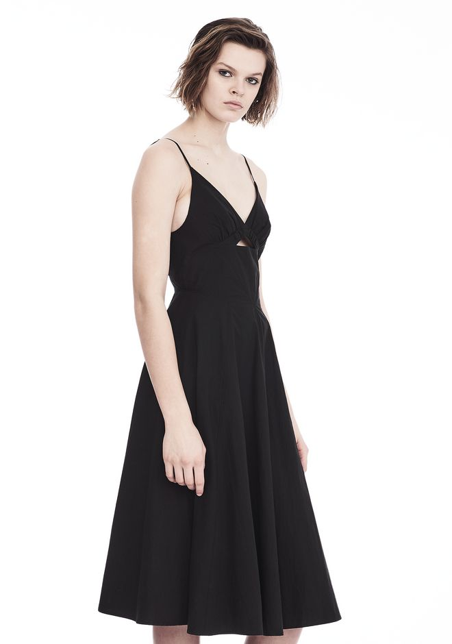 T by ALEXANDER WANG COTTON POPLIN V-NECK DRESS WITH FRONT KEYHOLE 3/4 length dress Adult 12_n_a