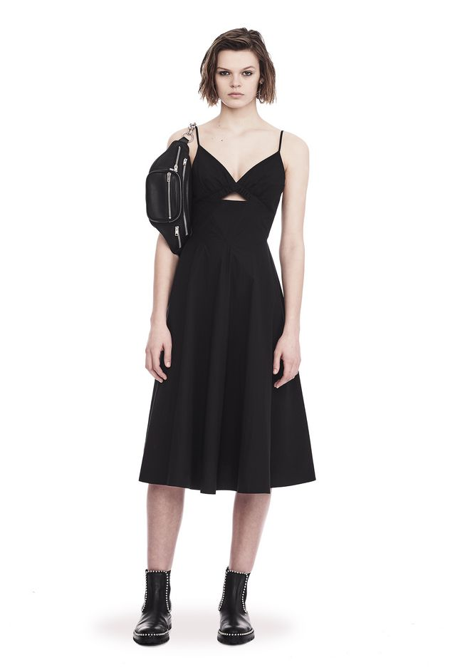 T by ALEXANDER WANG COTTON POPLIN V-NECK DRESS WITH FRONT KEYHOLE 3/4 length dress Adult 12_n_f