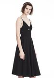 T by ALEXANDER WANG COTTON POPLIN V-NECK DRESS WITH FRONT KEYHOLE 3/4 length dress Adult 8_n_a