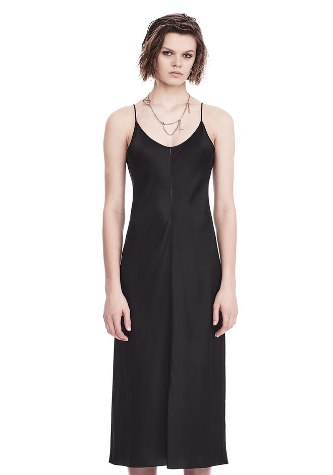 T by ALEXANDER WANG 3/4 Length dresses SILK CHARMEUSE SLIP DRESS