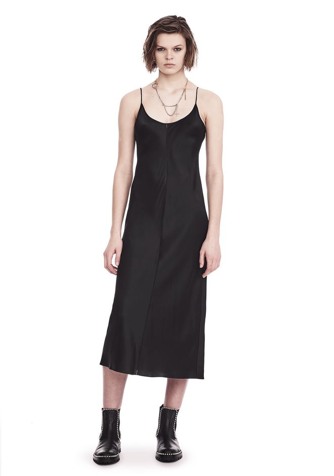 T by ALEXANDER WANG 3/4 Length dresses Women SILK CHARMEUSE SLIP DRESS