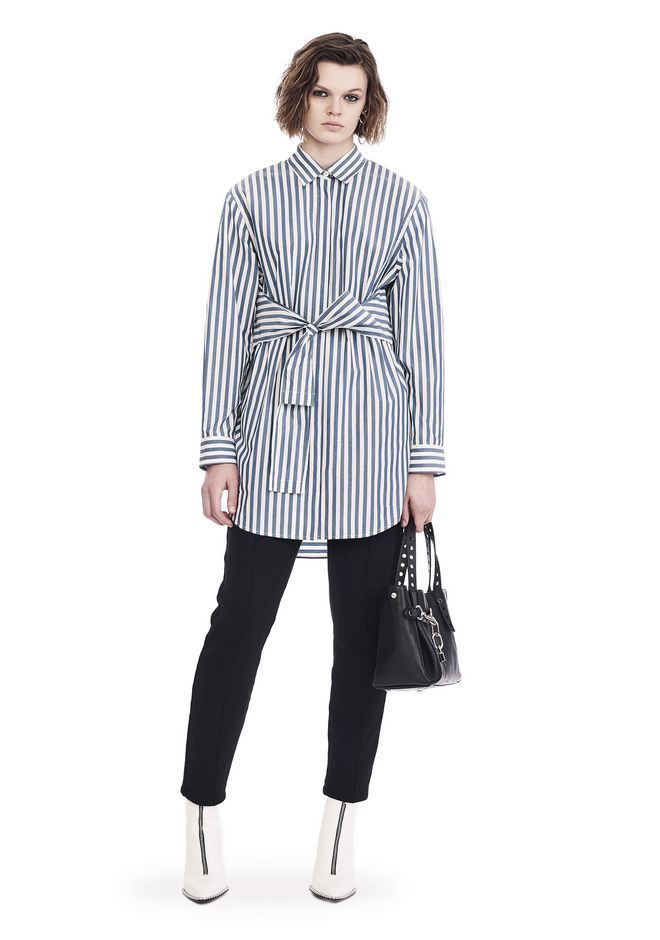 T by ALEXANDER WANG Robes mi-longues Femme STRIPED LONG SLEEVE FRONT TIE COLLARED DRESS