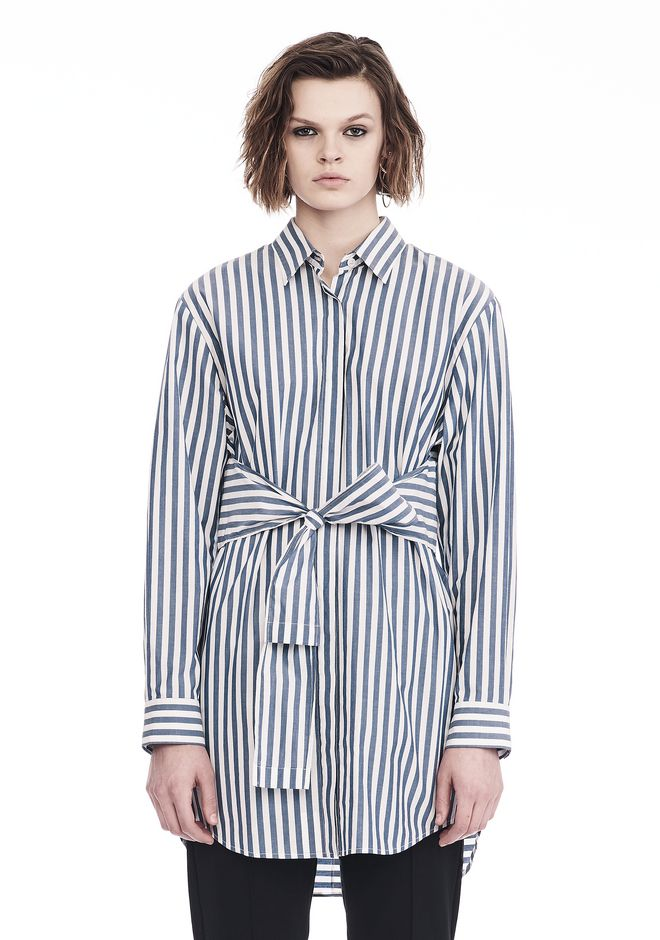 Alexander wang striped long sleeve front tie collared for Striped tie with striped shirt