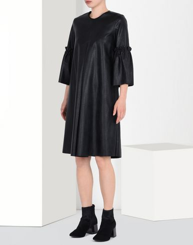 MM6 MAISON MARGIELA Short dress D Faux leather dress with pleated sleeves f