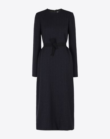 MAISON MARGIELA 4 Long dress D Pinstripe wool satin dress f