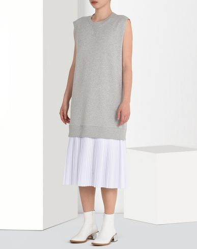 MM6 by MAISON MARGIELA Sleeveless sweatshirt dress with pleats 3/4 length dress D f