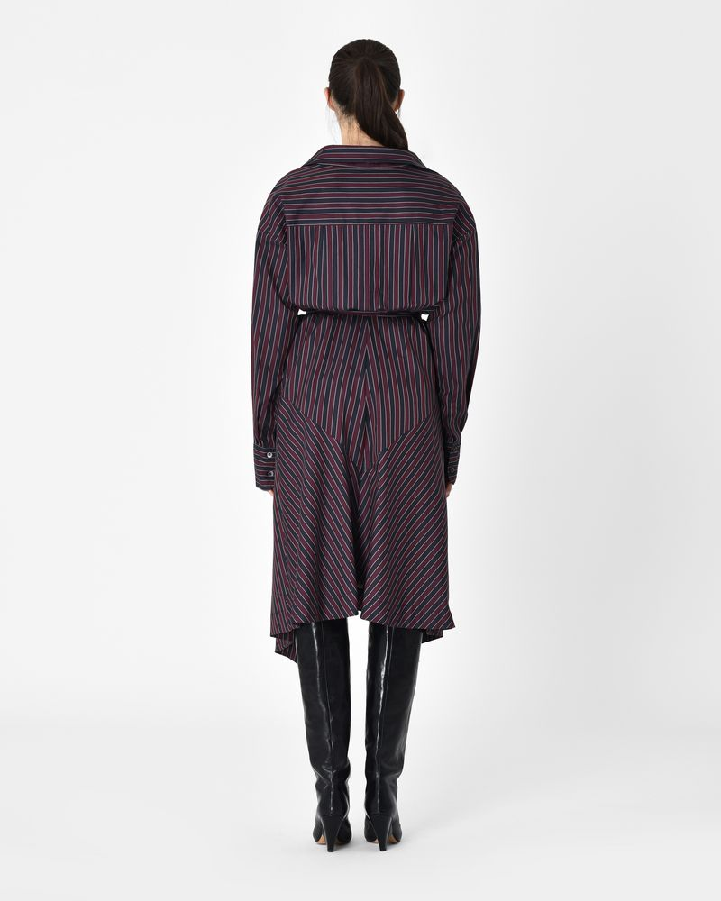 MILA belted midi dress in striped cotton  ISABEL MARANT