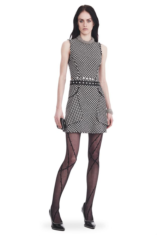 ALEXANDER WANG new-arrivals-ready-to-wear-woman RAW EDGE TWEED PEPLUM DRESS