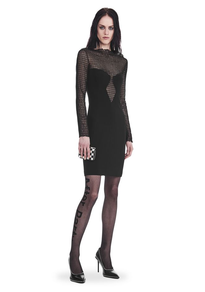ALEXANDER WANG Short Dresses LONG SLEEVE SHEATH DRESS WITH FRONT LACE PANEL