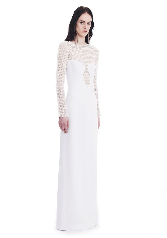 ALEXANDER WANG nwarclltsw LONG SLEEVED COLUMN GOWN WITH /FRONT LACE PANEL