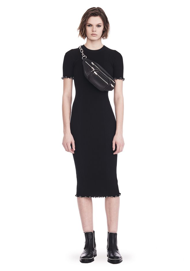 ALEXANDER WANG knitwear-ready-to-wear-woman RIBBED TEE DRESS WITH RUFFLED BALL CHAIN HEMS