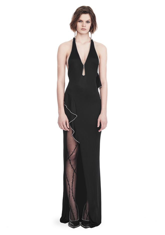ALEXANDER WANG Long dresses Women GOWN WITH ASYMMETRIC BALL CHAIN FLOUNCE