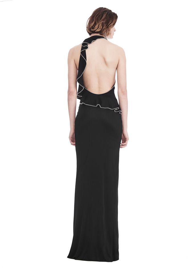 ALEXANDER WANG GOWN WITH ASYMMETRIC BALL CHAIN FLOUNCE 长款连衣裙 Adult 12_n_r