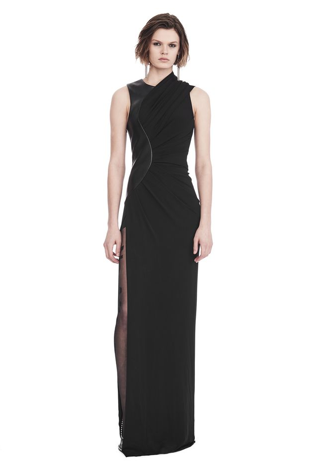 ALEXANDER WANG Long dresses ASYMMETRIC DRAPED GOWN WITH CURVED LEATHER PANEL