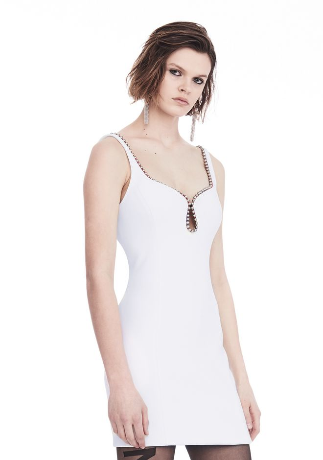 ALEXANDER WANG EXCLUSIVE SHEATH DRESS WITH BALL CHAIN NECKLINE 短款连衣裙 Adult 12_n_a
