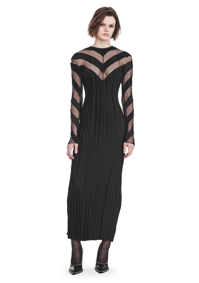 ALEXANDER WANG Long dresses Women PLEATED LONG SLEEVE GOWN WITH CHEVRON PANELING