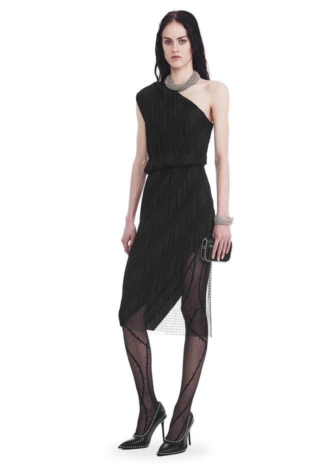 ALEXANDER WANG Long dresses Women PLEATED ONE-SHOULDER PANELED DRESS