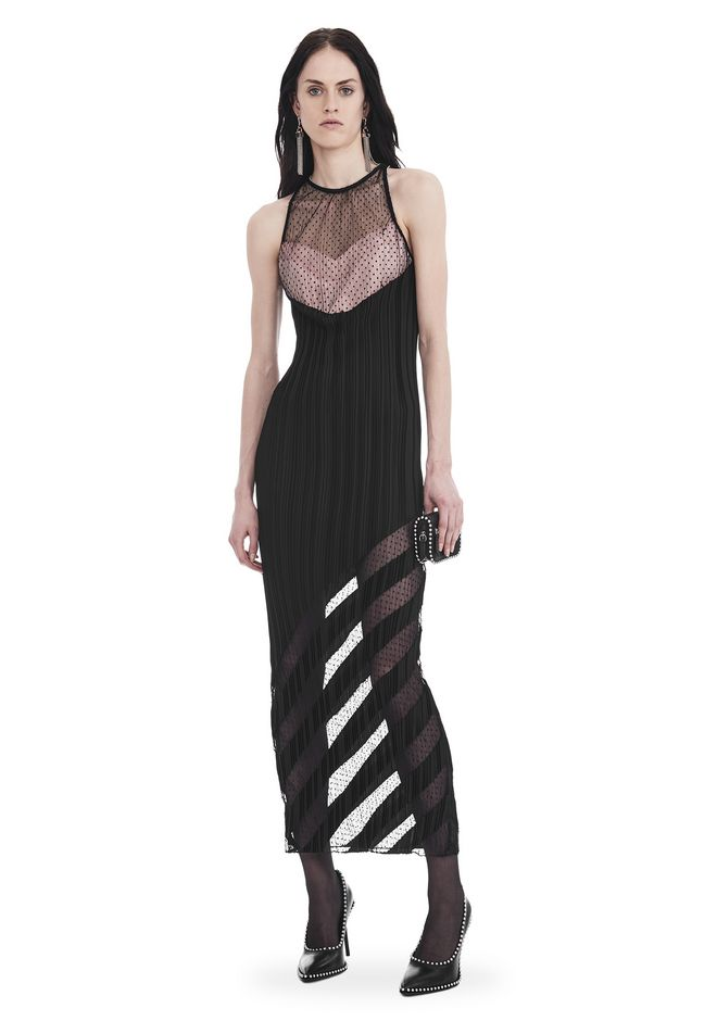 ALEXANDER WANG 3/4 Length dresses POLY SATIN GEORGETTE PLEATED SLEEVELESS PANELED GOWN