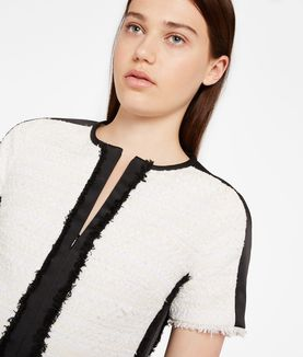 KARL LAGERFELD FRINGED BOUCLÉ DRESS