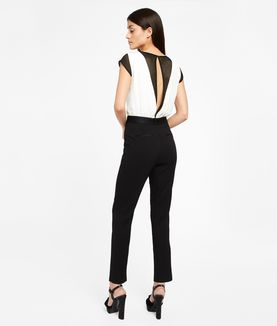 KARL LAGERFELD GRAPHIC MESH DETAIL JUMPSUIT