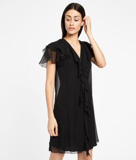 KARL LAGERFELD ZIP DETAIL SILK RUFFLE DRESS