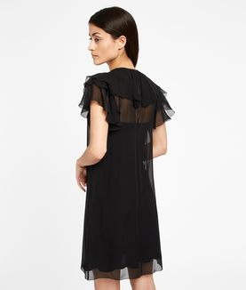 KARL LAGERFELD ZIPPER DETAIL SILK RUFFLE DRESS