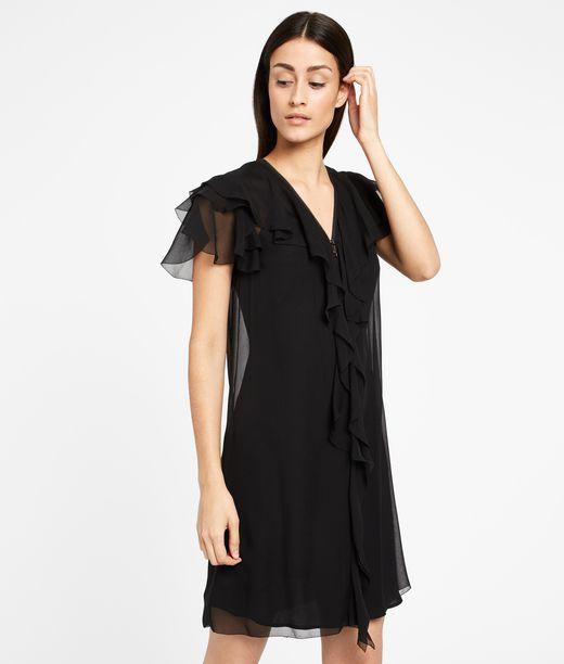 KARL LAGERFELD Zipper Detail Silk Ruffle Dress 12_f