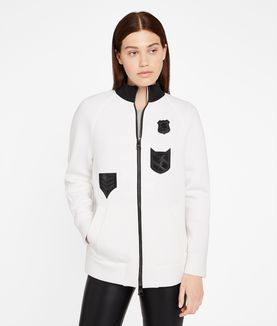 KARL LAGERFELD PATCH DETAIL ZIP UP SWEATSHIRT