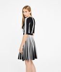 KARL LAGERFELD Black & White Rib Dress 8_r