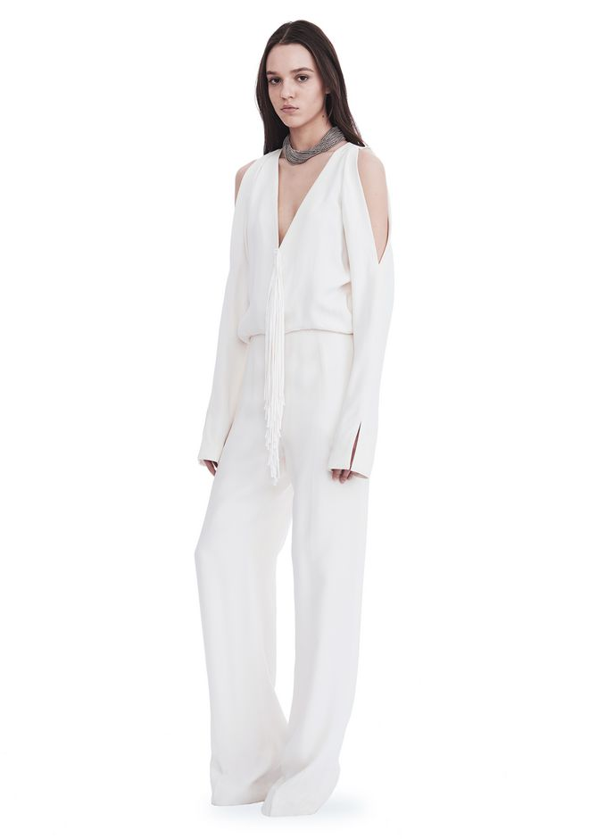 ALEXANDER WANG new-arrivals-ready-to-wear-woman COLD SHOULDER JUMPSUIT WITH FRINGE DETAIL