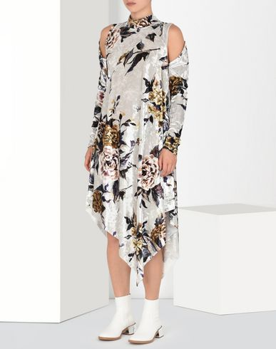 MM6 by MAISON MARGIELA Asymmetric printed velvet dress Long dress D f