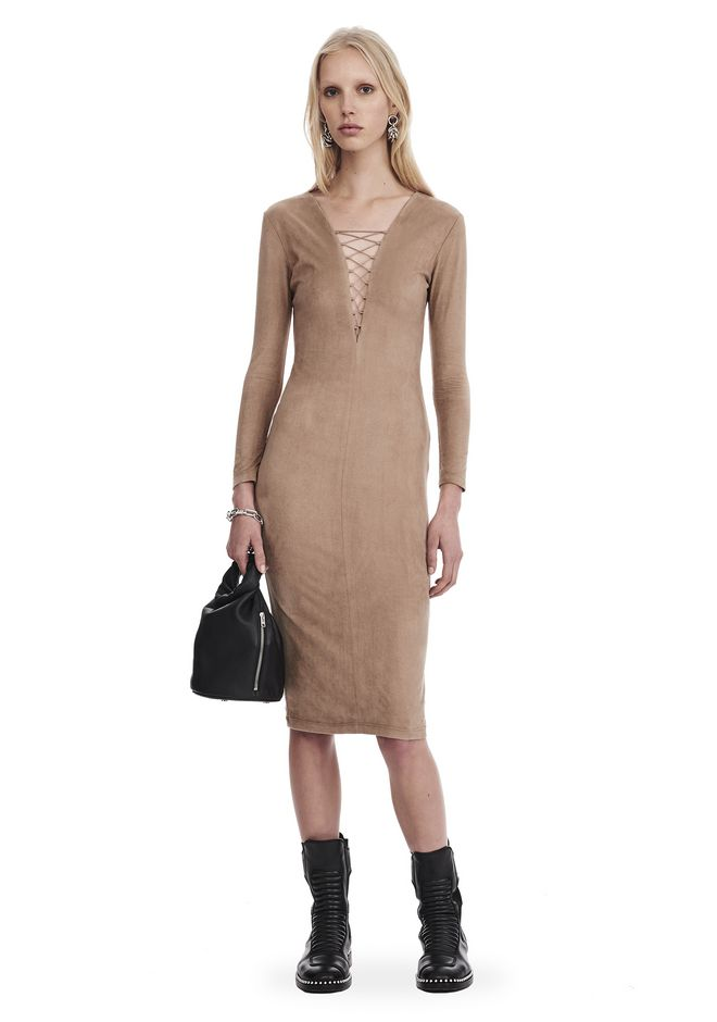 T by ALEXANDER WANG Short Dresses Women STRETCH FAUX SUEDE LONG SLEEVE LACE-UP MIDI DRESS
