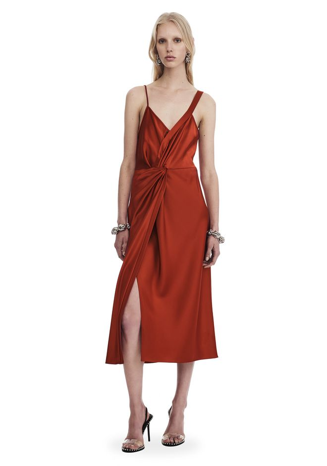T by ALEXANDER WANG Short Dresses Women SATIN SLEEVELESS KNOT FRONT DRESS