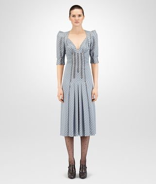 ROBE EN GEORGETTE JACQUARD ICE BLUE