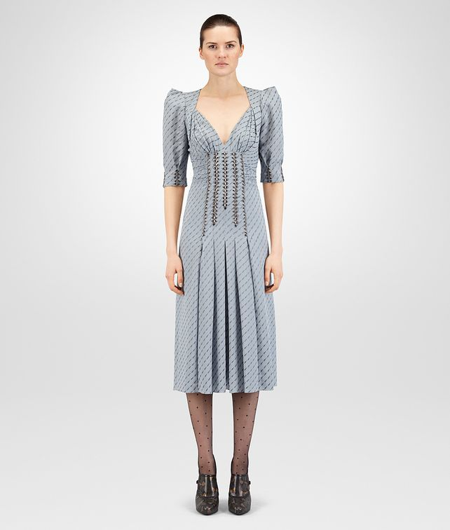 BOTTEGA VENETA ICE BLUE GEORGETTE JACQUARD DRESS Dress Woman fp
