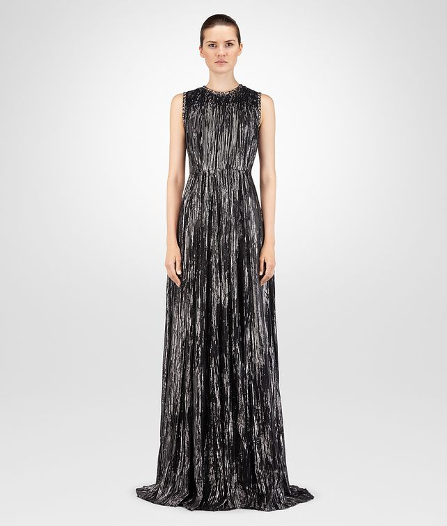 BOTTEGA VENETA NERO SILK JACQUARD LONG DRESS Dress D fp