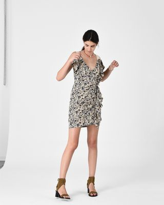 ISABEL MARANT ÉTOILE SHORT DRESS Woman TOPAZ printed linen dress r