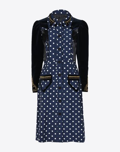 MAISON MARGIELA 3/4 length dress D Décortiqué polka dot virgin wool dress f