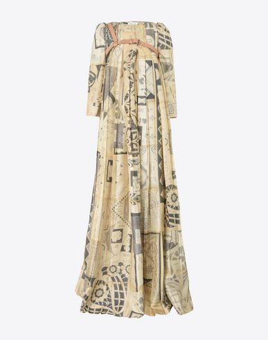 MAISON MARGIELA Floor-length pleated silk dress Long dress D f