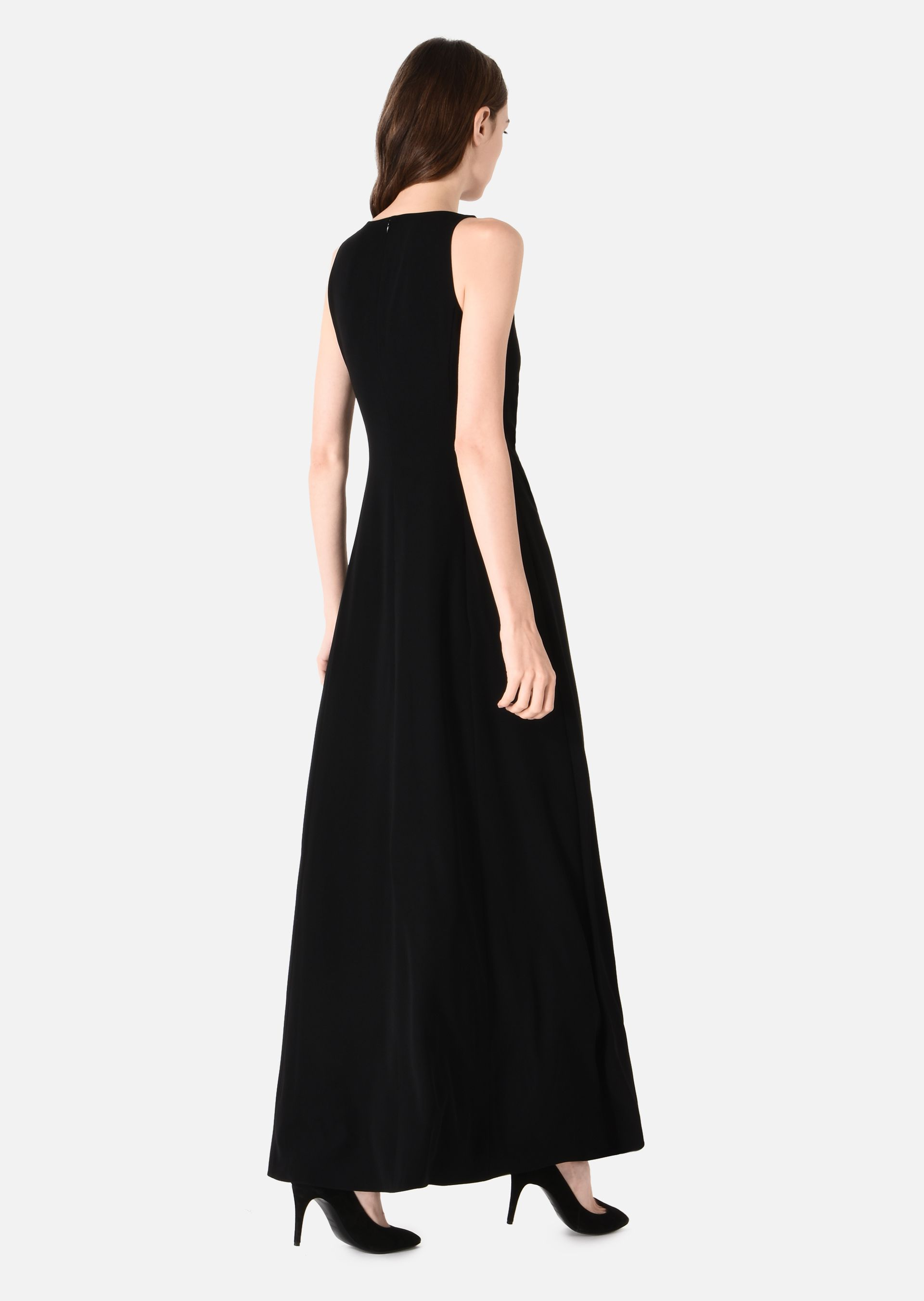 LONG DRESS WITH DRAPE AND RUFFLE for Women | Emporio Armani