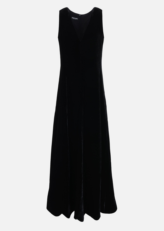 LONG SLEEVELESS DRESS IN VELVET for Women | Giorgio Armani