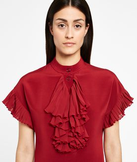 KARL LAGERFELD SILK RUFFLE PLASTRON DRESS
