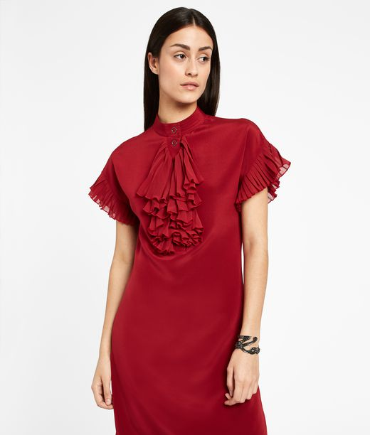KARL LAGERFELD Silk Ruffle Plastron Dress 12_f