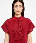 Silk Ruffle Plastron Dress