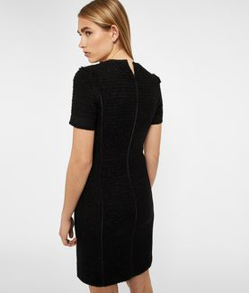 KARL LAGERFELD BLACK SPARKLE BOUCLÉ DRESS